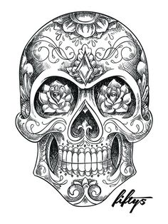 Sugar Skull Sketch 5 Pack of Stickers