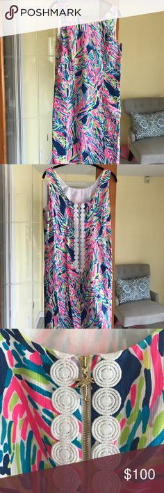 Size 10 Lilly Pulitzer Shift Dress Practically brand new Lilly Pulitzer Cathy shift dress in Indigo Palm Reader print. I only wore it for a few hours for my graduation ceremony and that was it. Super cute, especially the scooped back! Lilly Pulitzer Dresses