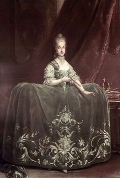 Robe de cours & grand habits - definition, description, history, how they varied over time and from country to country, and lots of images.   Martin van Meytens (1695–1770)   Maria Carolina of Austria (1752-1814) 1760-70