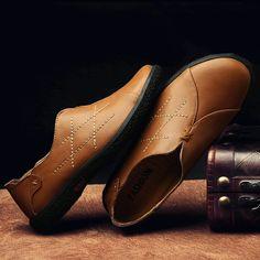 >> comprar aqui << Prelesty Vintage Retro Style Winter Men Casual Shoes Slip-On Mocasines de Cuero Genuino de la Vaca Suave Cómodas Zapatillas Hombre