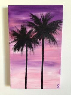 Sam McAleese - Purple Palms - Original Handpainted Acrylic Painting on Canvas on Etsy, $40.00 AUD