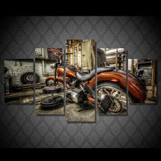 5 piece canvas wall art custom Harley motorcycle chopper - custom build phat fat tire softail HD print wall pictures for living room canvas painting art home decor posters We have 2 options for this print-- With Framed, Or No Framed. Please choose one option when you buy. With Framed means the print has been stretched on wood frame, ready to hang! No Framed means canvas ONLY. The canvas will be rolled up and shipped in a tube. You or someone local will need to install the canvas on stretcher