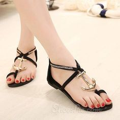Pretty Metal  Anchor Clip-Toe Flat Sandals From the Plus Size Fashion Community at www.VintageandCurvy.com