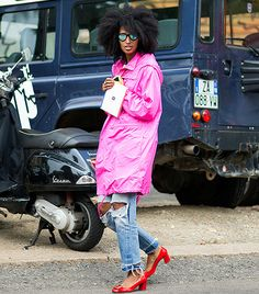 Julia Sarr Jamois: Neon pink parka + distressed denim