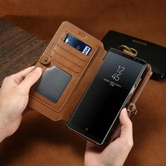 Luxury Leather Magnetic Flip Wallet Case For iPhones, Huawei and S – Titanwise Phone Cases Samsung Galaxy, Cool Phone Cases, Iphone Cases, Iphone 6, Leather Phone Case, Leather Wallet, Card Storage, Best Smartphone, Phone Wallet