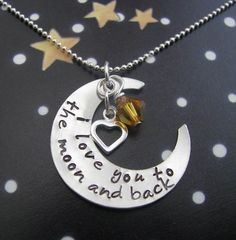 I love you to the moon and back necklace  hand by juliethefish, $50.00