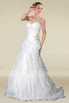 Fantastic A-line Bridal Dress in Gossamer Ruffle Detail