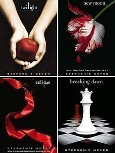 Twilight, New Moon, Eclipse, Breaking Dawn by Stephanie Meyer. | Link for later, don't mind this... http://stepheniemeyer.com/pdf/midnightsun_partial_draft4.pdf