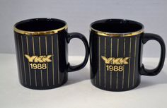 Two Vintage Coffee Mugs Cups Navy Blue Gold YKK 1988 Kiln Craft England PanchosPorch #handmade #etsymnt