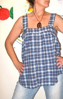 Tank top refashioned from a man's button-down or flannel shirt (Looks so comfy)