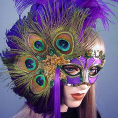 Peacock Lady Mardi Gras Masquerade Mask  - New Orleans, peacock feathers, purple, green and gold, high fashion