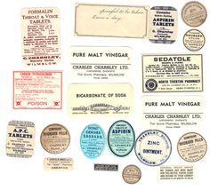 20 OLD Vintage PHARMACY Medicine Drugstore LABELS -- Great for Scrapbooking or Altered Art