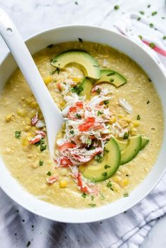 """magicspoons:  """"[via: fattributes.tumblr.com] Chilled Corn and Crab Soup  """""""