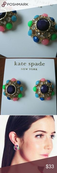 New Kate Spade Putting on the Ritz Stud Earrings Brand new and unworn, party ready Kate Spade Putting on the Ritz stud statement earrings. Sparkly gold plated metal with clear and multi colored stones with steel posts. Comes on the earring card. Perfect for a special event or dressing up every day! kate spade Jewelry Earrings