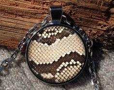 Snakeskin print pendant Snakeskin print necklace Python by Aranji
