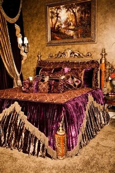 Luxury bedding, upscale comforter set Bernadette Livingston Furniture has the best in luxury bedding, throw blankets, and decorative pillows as wel… Luxury Comforter Sets, Luxury Duvet Covers, Queen Comforter Sets, Silk Bedding, Purple Bedding, Black Bedding, Beautiful Bedrooms, Bed Design, Bed Spreads