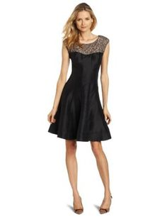 London Times Women's Lace Taffeta Fit And Flare Dress