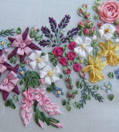 Beautiful silk ribbon embroidery @ etsy.com
