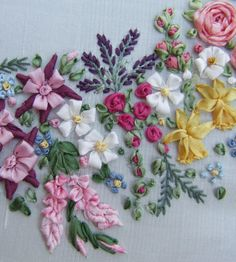 Garland of Silk Ribbon flowers Pattern and by lornabateman22