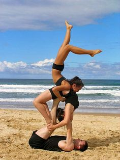 3 person acro yoga pose  assisted handstand  acro yoga