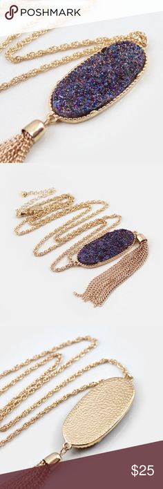 Druzy Pendant Necklace zinc alloy, lead/nickel/allergen free faux druzy, link chain Jewelry Necklaces