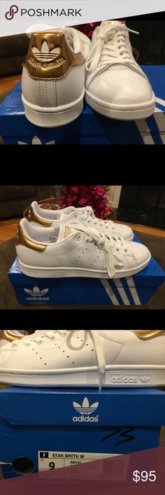 NIB Adidas Stan Smith Copper Rose Gold US 9 10 Authentic Stan Smith Adidas Copper Gold in US Women's size 9 or Men's size 7. These run big!   I'm am cleaning out the closets in our home! In the next month I'll be posting a ton of Women's and boys clothes. I bought these and they are too big for me! These have never been worn and are Authentic. I regularly wear an 8 1/2 and these fit closer to a 9.5 or 10! adidas Shoes Sneakers