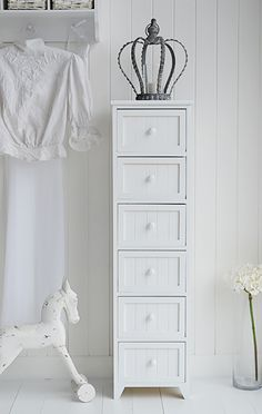 Maine slim tallboy chest of 6 drawers - White Bedroom Storage Furniture Chest Of Drawers Design, Tallboy Chest Of Drawers, Bedroom Chest Of Drawers, Drawer Design, Furniture Storage, Bedroom Storage, Furniture Ideas, White Bedroom Furniture, Country Furniture
