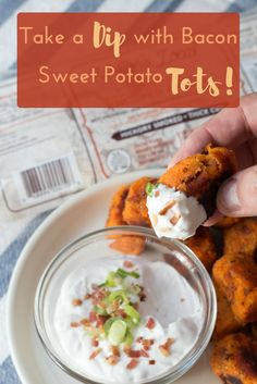 Amazing Paleo Gluten Free Sweet Potato Bacon Tots! Paleo Ranch/ Sour Cream dip is amazing!! Perfect Appetizer or side dish