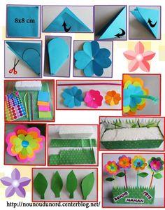 *2013* Lison qui est une grande fille de 6 ans a réalisé en découpage des jolies fleurs très colorées, piquées dans un support en polystyrène recouvert de papier à motif. C'est le cadeau pour ...