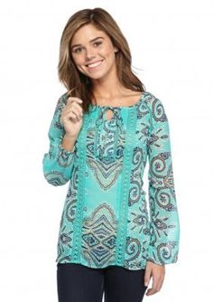 Red Camel  Woven Mix Print Top