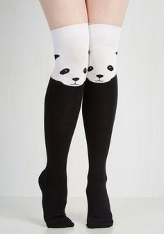 Insanely cute socks that turn your knees in to pandas.