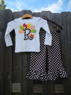 My girls need this!!!!   Turkey Initial Ruffle Pant Set  sizes 6m5TSUPER by theuptownbaby, $40.00