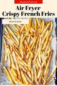Easy Air Fryer Homemade Crispy French Fries is a quick and easy, fresh recipe that resembles potato wedges. The skin is left on the fries and salted to perfection! Serve these crunchy fries alongside all of your favorite main dishes or dipping sauce. Crispy French Fries, French Fries Recipe, Homemade French Fries, Air Fry Recipes, Real Food Recipes, Air Fryer French Fries, Fresh Recipe, Truffle Fries