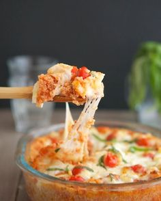 Bruschetta Quinoa Casserole - note, do not use string cheese :D (tastes good in a pinch, but doesn't melt)