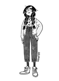 A nice warm-up drawing. Character Drawing, Character Illustration, Illustration Art, Pretty Art, Cute Art, Comic Style, Poses References, Character Design Inspiration, Character Design Teen
