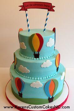 "Hot Air Balloon themed baby shower cake. (10""+8""+6"") Buttercream w fondant decor."