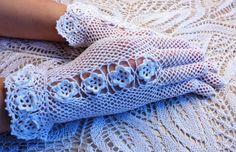 Vintage Style Crochet dentelle fleur Rosette gants mariage - blanc