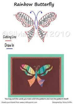 Rainbow Butterfly on Craftsuprint designed by Silvia Griffin - Very colorful butterfly. Pretty easy cutting. Any friend would love this card.  - Now available for download!