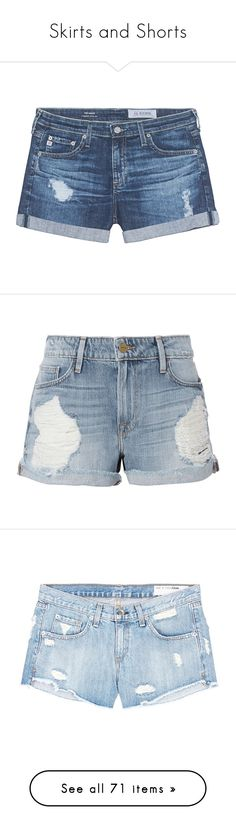 """""""Skirts and Shorts"""" by kaupka ❤ liked on Polyvore featuring shorts, bottoms, pants, jeans, distressed shorts, destroyed shorts, jean shorts, ripped shorts, low rise jean shorts and short"""