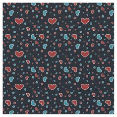 Red and Blue Hearts Pattern Customizable Fabric available on zazzle
