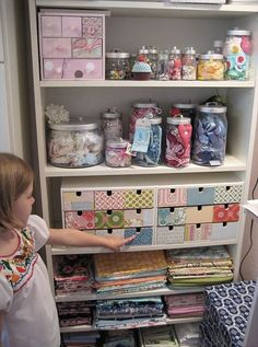 craft storage-I like th idea of getting a tall bookshelf & using each one to store & organize a group of something