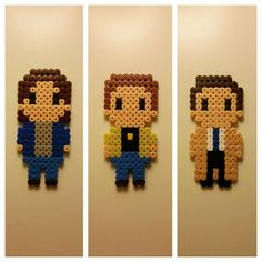 Supernatural characters (Sam, Dean and Castiel) perler beads by nessiesbeads