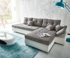 Ecksofa Zafina 303x185 cm Weiss Grau mit Schaffunktion