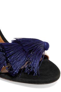 Aquazzura - Johanna Ortiz Tasseled Two-tone Suede Sandals - Navy - IT37