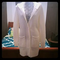 Forever 21 Soft OFF WHITE SWEATER CARDIGAN Super soft. Cardigan long off white hooded sweater. About 5 years old. Worn maybe twice. Vguc. No stains. No pilling. Forever 21 Sweaters Cardigans