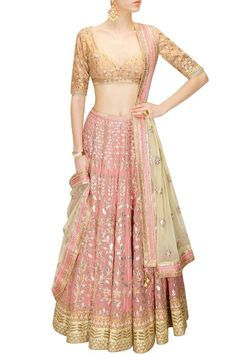 Buy Blush Pink Gota Patti Embroidered Lehenga Set By Anita Dongre online in India at best price. Featuring a blush pink georgette foil lehenga embellished with traditional gota patti embroidery in Pakistani Dresses, Indian Dresses, Indian Outfits, Indian Sarees, Lehenga Designs, Indian Attire, Indian Ethnic Wear, India Fashion, Asian Fashion