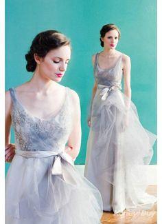 Silver Scoop Ruffles Designer Unique Wedding Dress 2013 Handmade