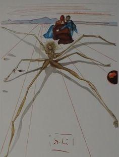 Salvador Dalí (naar) - Arachne  In de druk gesigneerd.Afmetingen totaal: 33 x 26.5 cm. Op BFK Rives vellum papier.In goede staat. Houtgravure uit Dante's La Divine Comédie Le Purgatoire Chant 17Uitgever: Editions D'Art Les Heures Claires Paris (Jean Estrada) 1959-1963.  EUR 2.00  Meer informatie