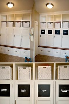 mud room entry- don't have to look at the coats- doors on the cubbies Basement Guest Rooms, Mud Rooms, Basement Shelving, Mudroom Laundry Room, Multipurpose Room, Just Dream, Home Organization, Organizing, Organising Ideas