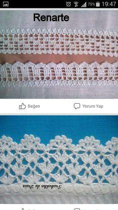Ro Jk ☆ My Crochet = Cup Cloth, Han - Maallure - Bicos de crochê Crochet Blanket Edging, Crochet Lace Edging, Crochet Dishcloths, Crochet Borders, Crochet Doilies, Filet Crochet Charts, Crochet Stitches, Free Crochet, Stitch Patterns